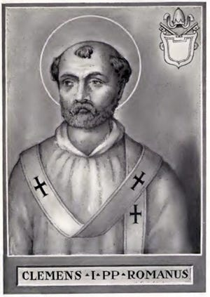 Pope Clement I or Saint Clement of Rome, was martyred by the Roman Emperor Trajan on Nov. 23, 101.
