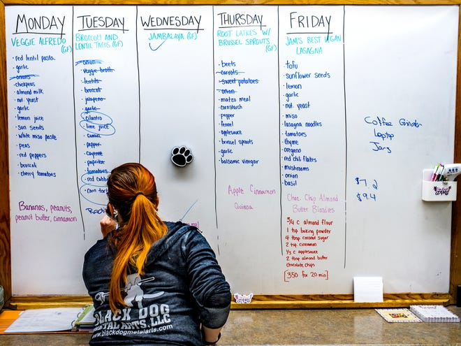 Jam Rohr adjusts her planning schedule Friday, November 13, 2020 at Up Beet Jams, a vegan meal prep service based in the kitchen at St Paul's Episcopal Church in Peoria.