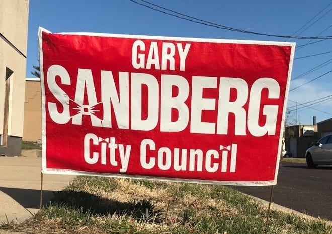 This old Gary Sandberg campaign sign is one of several that have popped up this week at Northeast Adams and Spring streets. Sandberg died in 2013.