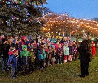 A tree lighting held in a previous year.