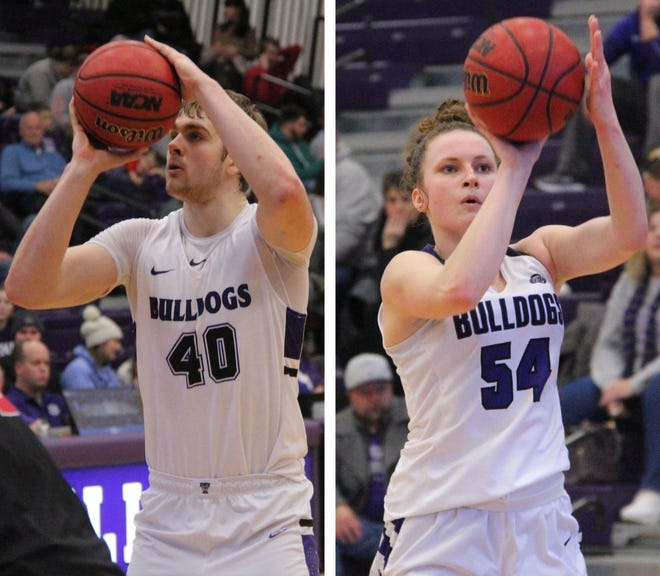 Daily Express photos of Truman's Cade McKnight, left, and Katie Jaseckas, right.