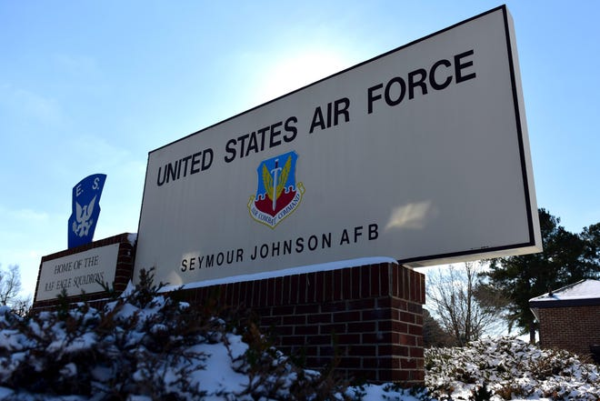 A welcome sign at the entrance to the base Jan. 4, 2018, at Seymour Johnson Air Force Base, North Carolina. The base is home to both the 4th Fighter Wing and the 916th Air Refueling Wing.