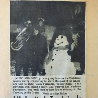 Shel Schweikert, city manager from 1966 to 1994, recalls that his family enjoyed the community caroling for many years. This picture is from The Hub in 1956.