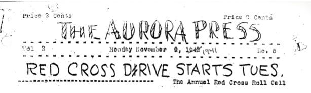 "The masthead for the paper was hand drawn and never looked the same from issue to issue. Errors such as the wrong year and the misspelling of ""Drive"" were amusing aspects of the paper that attracted readers."