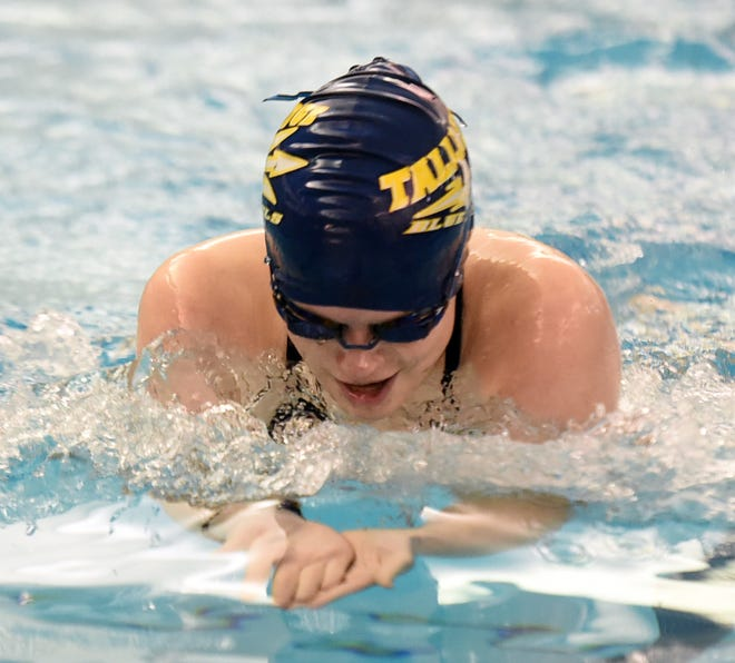 Tallmadge's Hannah Flume swims the breaststroke leg of the 200 individual medley at last year's Suburban League Swimming Championships.