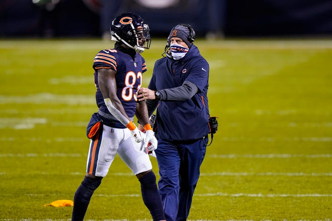 Chicago Bears wide receiver Javon Wims (83) talks with head coach Matt Nagy after being flagged for unnecessary roughness in the second half of an NFL football game against the New Orleans Saints in Chicago, Sunday, Nov. 1, 2020. Wims was ejected from the game. [AP Photo/Nam Y. Huh]