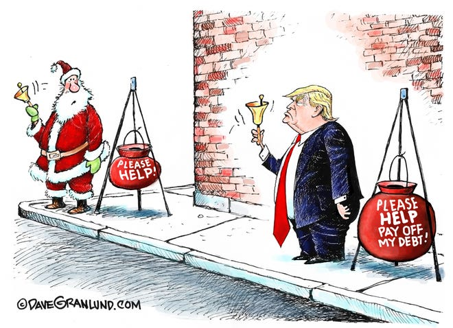 Dave Granlund cartoon on Trump's debt