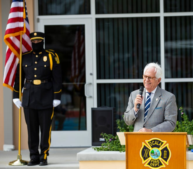 Ocala Mayor Kent Guinn addresses the crowd during the MLK First Responders Campus grand opening in November.  The mayor spoke Thursday about his days in the hospital late last month battling COVID-19.