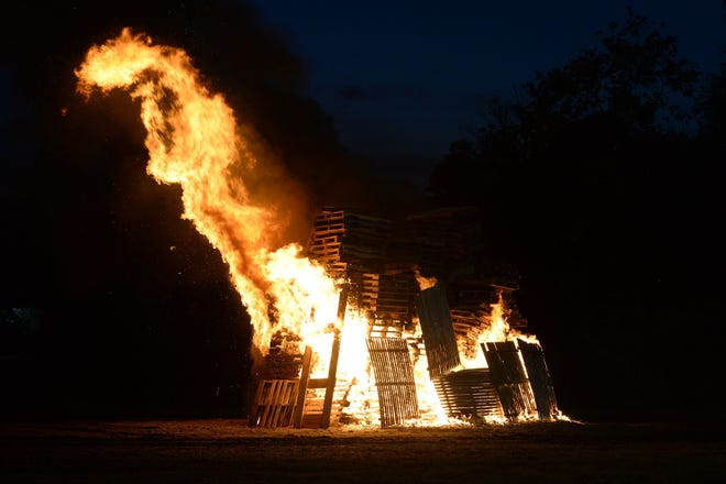 Hull cancelled its Thanksgiving night bonfire because of coronavirus cases. The bonfires was supposed to be made out of pallets, like this 2018 bonfire at East Bridgewater Junior/Senior High School.