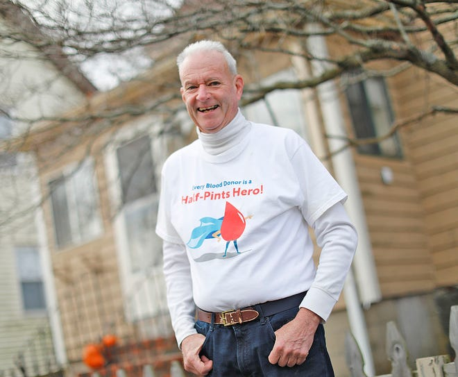 Dan Coughlin a retired Quincy educator has been donating blood platelets to Children's Hospital every two weeks.