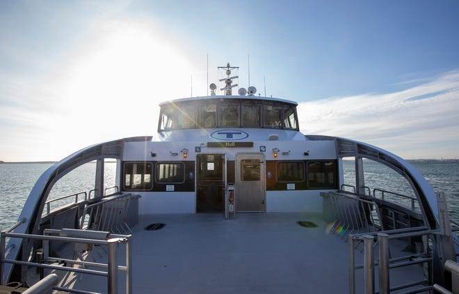 An MBTA ferry in Hull on Nov. 19, 2020. South Shore towns spent nearly $17,000 on a campaign to save the service from cuts.