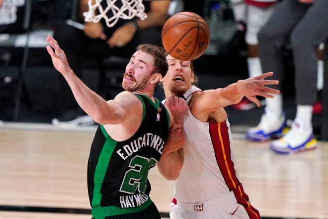 Boston Celtics' Gordon Hayward (20), shown here during a game against the Miami Heat in the Eastern Conference Finals, opted out of his contract for the upcoming season.