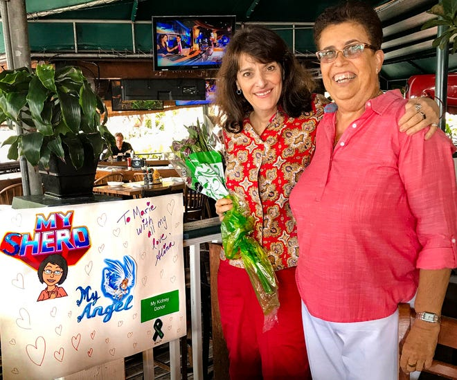 Dr. Alina Alonso, right, with kidney donor Marie Carianna. Weeks after the 2017 operation, Palm Beach County's health director hosted a luncheon at E.R. Bradley's Saloon in West Palm Beach to thank Carianna for her enormous generosity. (Photo Provided Alina Alonso)
