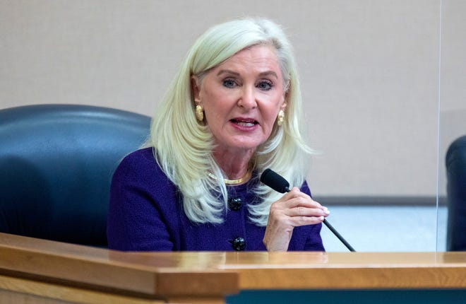 Sharon Bock, outgoing Palm Beach Beach County Clerk and Comptroller, during the Palm Beach County Commission meeting in West Palm Beach on Nov. 17.
