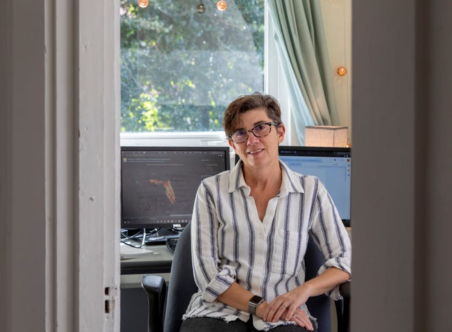 Palm Beach Post reporter Sonja Isger in her home office in West Palm Beach, Florida on  November 19, 2020.