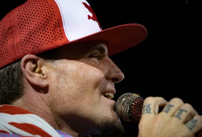 """Rob Van Winkle, aka """"Vanilla Ice,"""" reality TV star and philanthropist, was the featured performer along with exhibitors, vendors, snow, kids activities, a toy drive and a visit from Santa at Winterfest 2019 held at the Palm Beach International Equestrian Center in Wellington Friday, Dec.13, 2019."""