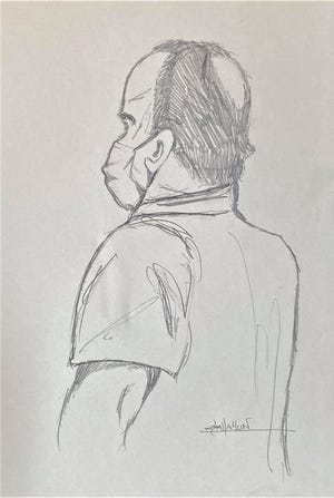 In this sketch from Oct. 14, 2020, Floyd M. Maitland Jr. listens to the charges against him in Dinwiddie County Circuit Court.