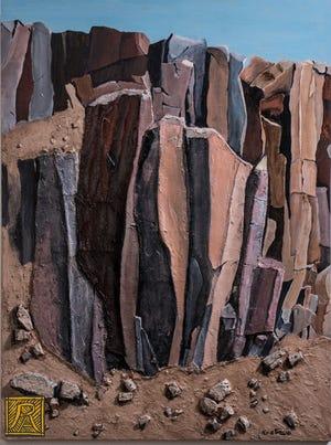 """""""Verticals,"""" R. Atencio. Sculpted painting."""