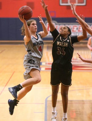 Robin Campbell (4) and the Malone women's basketball team will tip off the season Saturday at Hillsdale.