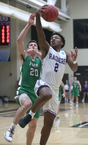 Collen Gurley (2) became the 34th Mount Union player to hit the 1,000-point mark this season.
