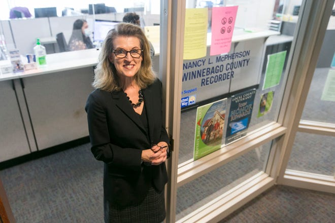 Winnebago County Clerk Lori Gummow stands outside the county recorder's office at the Winnebago County Administration Building on Thursday in Rockford. Gummow will assume the duties of county recorder starting Dec. 1. The office is currently held by Nancy McPherson.