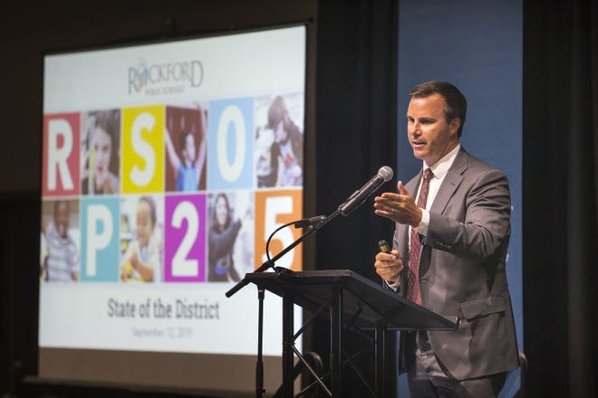 Rockford Public Schools Superintendent Ehren Jarrett, pictured at last year's state of the schools luncheon, held the event virtually this year because of the coronavirus pandemic.