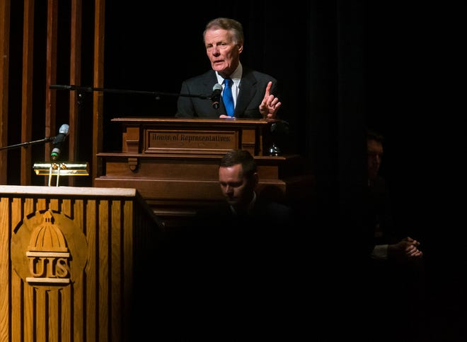 Illinois Speaker of the House Michael Madigan, D-Chicago, delivers his remarks Jan. 9, 2019, after being elected the Speaker of the House for his 19th term during the inauguration ceremony for the Illinois House of Representatives at the University of Illinois Springfield's Sangamon Auditorium. Four people, including an associate of Madigan, were charged this week with orchestrating a bribery scheme with Commonwealth Edison.