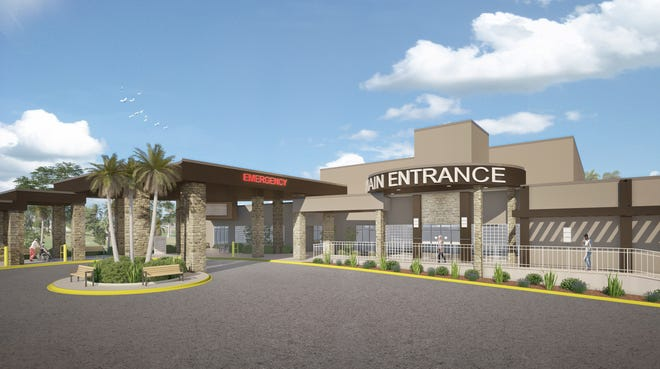This rendering shows a revitalized main entrance to the Venice Regional Bayfront Health campus at 510 The Rialto in Venice.