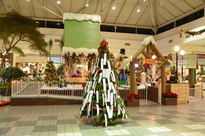 Inside Shawnee Mall in 2017, a Salvation Army Angel Tree stands ready for donors to participate in the program.