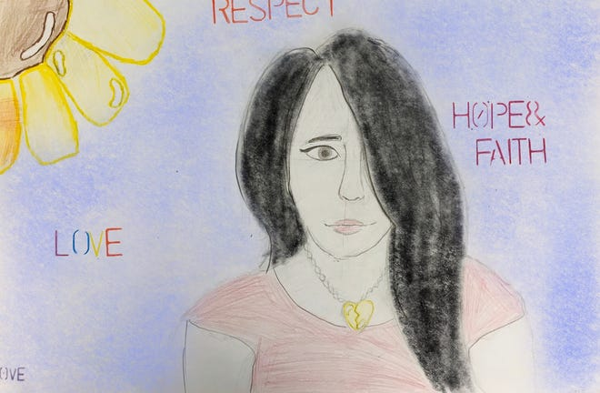 Elana Goforth, an eighth-grader at Central School in Marc Nelson's art class, took part in an art project started by two Mexican artists. Goforth, along with about 120 other students, drew portraits of victims of femicide.