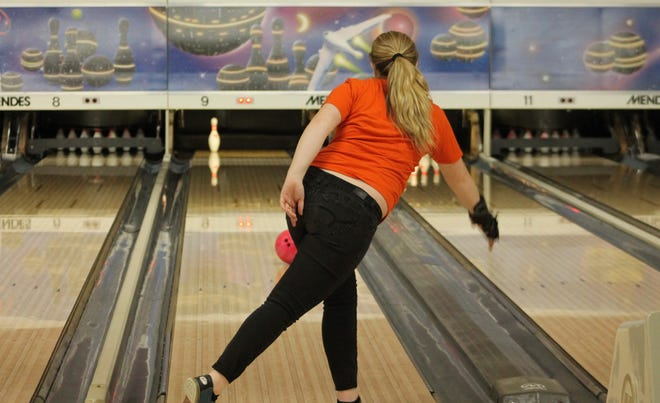Kewanee High School bowler Ava Williams rolls for a standing pin on Tuesday at Pin Splitter Lanes in Princeton. The alley will serve as Kewanee's home this season, should it resume.