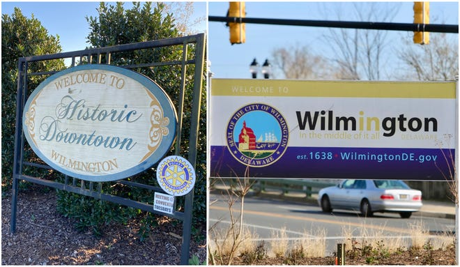 The welcome signs for Wilmington, N.C. (left) and Wilmington, D.E. (right), which have a lot in common.