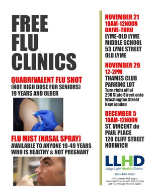 The Ledge Light Health District will host upcoming free flu clinics for area residents.