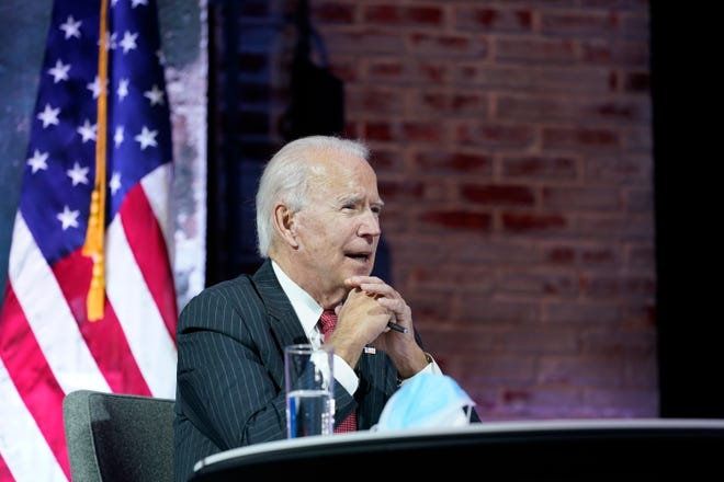 President-elect Joe Biden participates in a meeting with the National Governors Association's executive committee Thursday in Wilmington, Del.