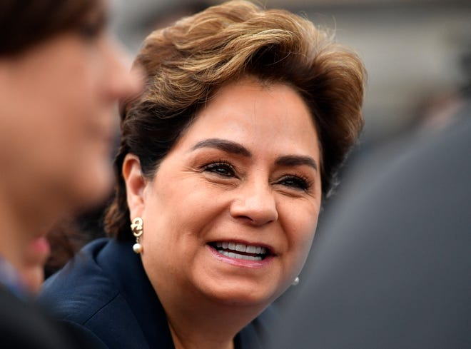 In this 2017 file photo, Patricia Espinosa, executive secretary of the United Nations Framework Convention on Climate Change, smiles at the COP 23 Fiji UN Climate Change Conference in Bonn, Germany.