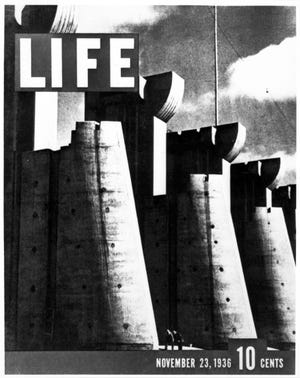 The first cover of Life Magazine, dated Nov. 23, 1936, featured the Fort Peck Dam in Fort Peck, Montana.