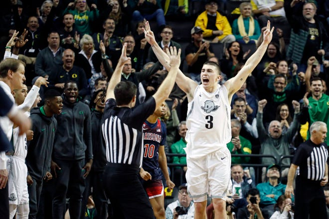 Payton Pritchard, shown celebrating a 3-pointer during a game last season, already has his first fan as a member of the Boston Celtics - legend Bob Cousy.