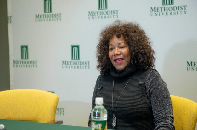 Civil rights icon Ruby Bridges speaks at a media event before a speech at Methodist University in Fayetteville on Feb. 11, 2019. Bridges integrated New Orleans schools as a 6-year-old in the first grade.