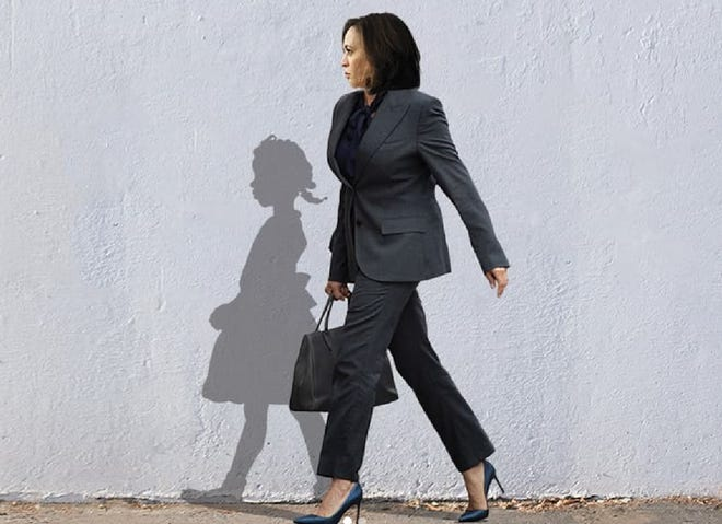 This viral image of Sen. Kamala Harris, the vice president-elect, is based on a 1960 Norman Rockwell image of Ruby Bridges, who as a young girl integrated the New Orleans school system. The picture was done by artist Bria Goeller.