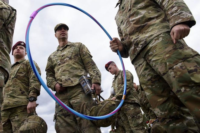 Soldiers take part in the inaugural All American Presents from Paratroopers at Pike Field on Dec. 2, 2019.