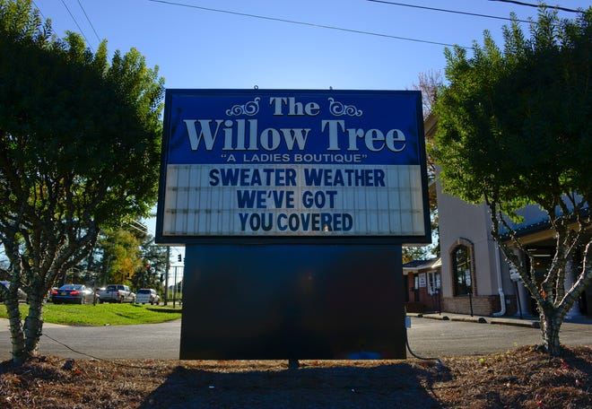 The sign in front of The Willow Tree on Rainbow Drive is pictured on Nov. 18. The store expanded its online offerings this year due to the pandemic.