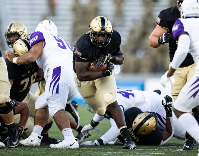 Sophomore Anthony Adkins has been a part of a productive fullback rotation this season for Army. Adkins has rushed for 266 yards and four touchdowns. DUSTIN SATLOFF/ARMY ATHLETICS