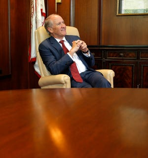 Stuart Bell, president of the University of Alabama, talks about issues affecting the University during an interview in Rose Administration Building Thursday, April 30, 2020.  [Staff Photo/Gary Cosby Jr.]