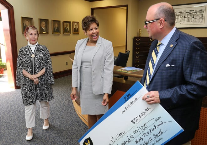 Sheila Smith and Billy McFarland from the T.S. Police Support League presented a $25,000 donation to Stillman College President Cynthia Warrick Monday, May 4, 2020, to endow an art scholarship for a student from Greene County. The endowment is given in memory of Thomas Clinton Smith, an artist who lived in Eutaw. [Staff Photo/Gary Cosby Jr.]