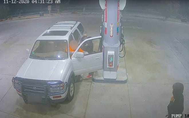 A screen grab of video footage shows a masked man attacking an elderly victim who was getting gas in the early morning hours of Nov. 12, 2020, in Victorville.