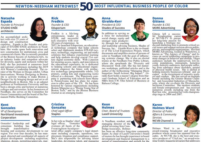 Honorees featured on a Newton-Needham Regional Chamber list of the 50 most influential business people of color in MetroWest.