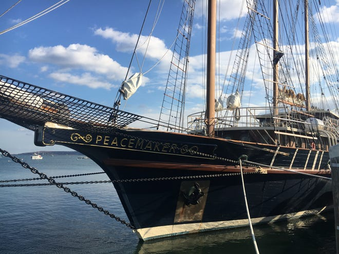 Peacemaker is one of two tall ships to visit Plymouth Harbor this month. [Wicked Local photo/Rich Harbert]