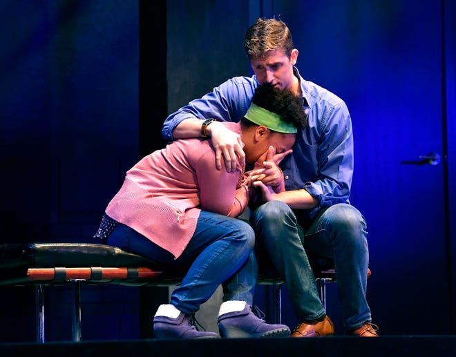 """ACU sophomore Vee Council and junior Corban Gililland rehearse a scene from """"American Son."""" They are an estranged couple dealing both with a missing son and  their interaction with the police."""