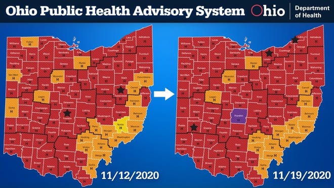 Ohio COVID-19 Public Health Advisory System, Nov. 19, 2020