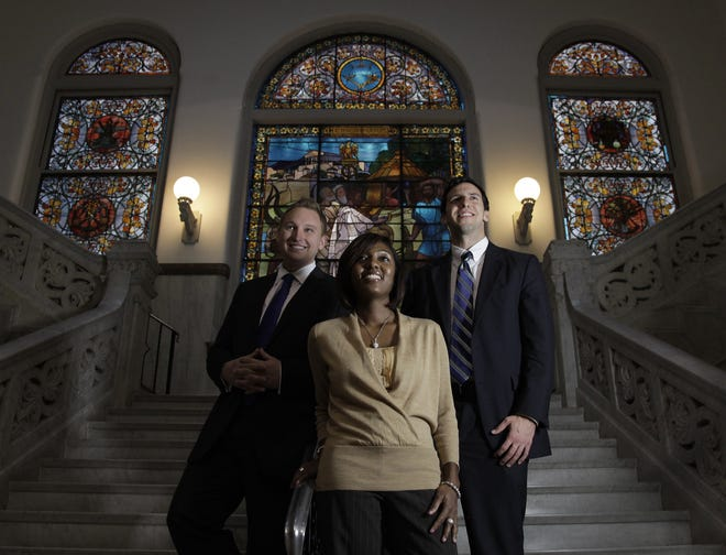 Chris Seelbach, from left, Yvette Simpson and P.G. Sittenfeld, are the newest first-time elected members of the Cincinnati City Council.  They will take office December 1, 2011.  The Enquirer/Michael E. Keating